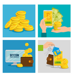 set electronic bitcoin currency to exchange money vector image