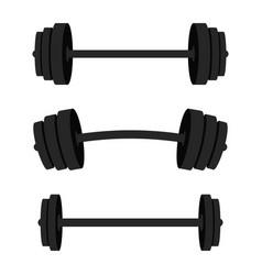 Set of barbells black barbells for gym fitness vector