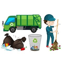 Set of garbage truck and janitor vector