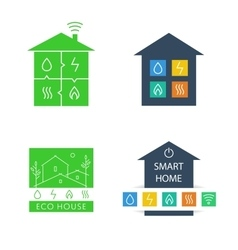Set template logos Eco-friendly house vector image