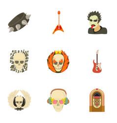 Skull icons set cartoon style vector