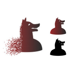 Sparkle dotted halftone man dog icon vector
