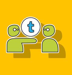 sticker unusual look tumblr social media icons vector image