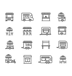 street food retail linear icons set vector image