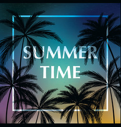 Summer time wallpaper with tropical plants vector