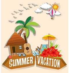 Summer vacation theme with bungalow vector