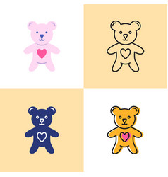 toy bear with heart icon set in flat and line vector image