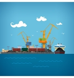 Unloading Coal from the Dry Cargo Ship vector image