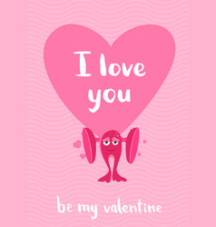 valentines day card with hearts cartoon vector image