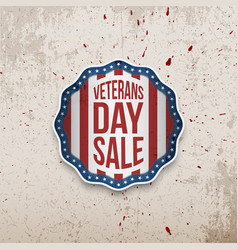 Veterans day sale emblem on grunge background vector