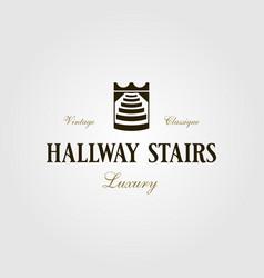 vintage hallway stairs stairway king crown logo vector image
