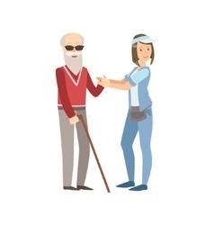 Volunteer Helping A Blind Old Man vector image
