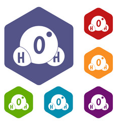 Water molecule icons set hexagon vector