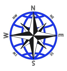 Wind rose against of the globe vector