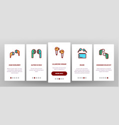 Wireless earbuds stereo device onboarding icons vector