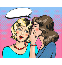 Women whisper pop art comic vector