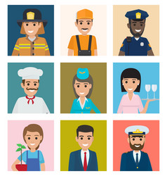 Workers from different industries portraits set vector