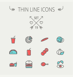 food and drink thin line icon vector image vector image