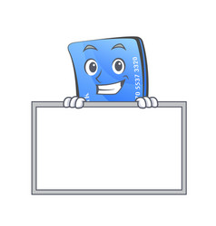 grinning credit card character cartoon with board vector image vector image