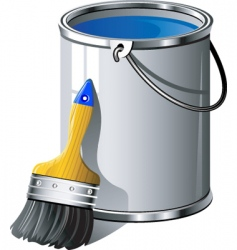 paint brush and bucket vector image