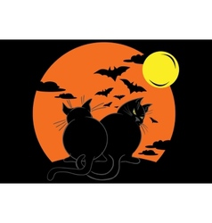 Two fat black cats over moonlight vector image vector image