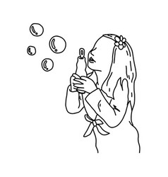 cute girl blowing bubbles sketch vector image