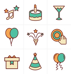 Icons Style party Icons Set Design vector image vector image