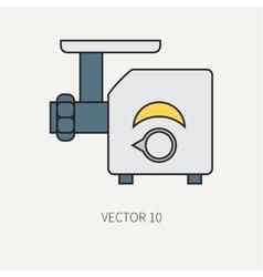 Line color kitchenware icons - meat grinder vector image vector image