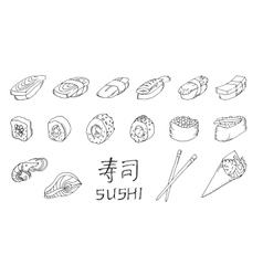 Sushi set hand drawing vector image vector image