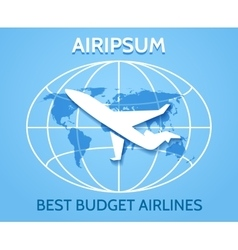 Airlines emblem with flying airplane vector image vector image