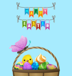 happy easter flyer or concept vector image vector image