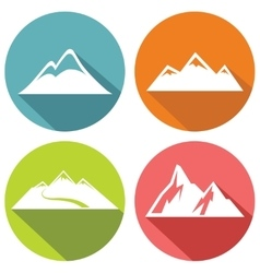 Mountain flat icons with long shadow vector image vector image