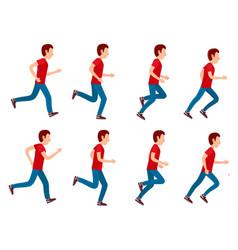 running man animation sprite set 8 frame loop vector image