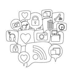 Silhouette set collection dialogue social icons vector