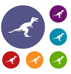 Theropod dinosaur icons set vector