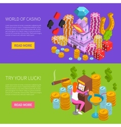 Casino Horizontal Isometric Banner vector image vector image
