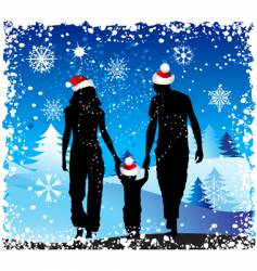 Christmas holiday happy family vector image vector image