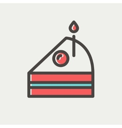 Slice of Cake with candle thin line icon vector image