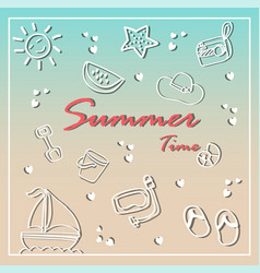 summer holiday doodles summer icon set vector image vector image