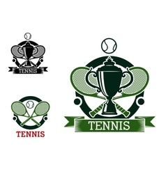 Tennis tournament emblems with crossed rackets vector image vector image