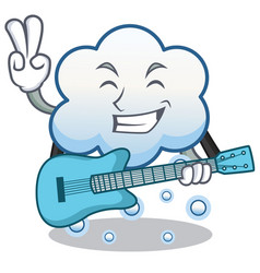 with guitar snow cloud character cartoon vector image vector image