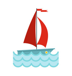 yacht with red sails icon flat style vector image