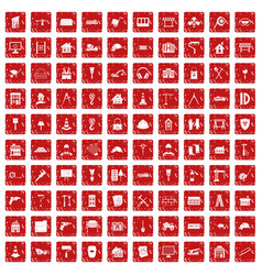 100 construction icons set grunge red vector