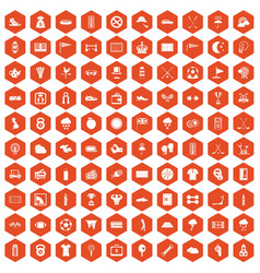 100 golf icons hexagon orange vector image