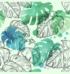 Abstract watercolor seamless leaves pattern vector