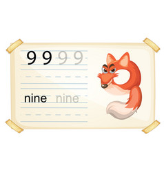 Animal cartoon number nine worksheet vector