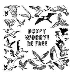 Birds card be free black and white vector