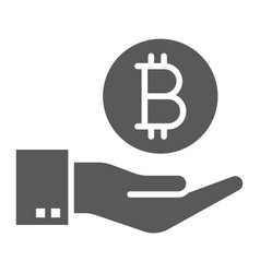 bitcoin on hand glyph icon finance and money vector image