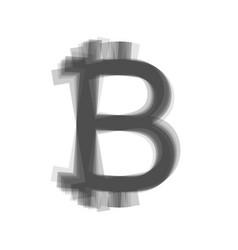 bitcoin sign gray icon shaked at white vector image vector image