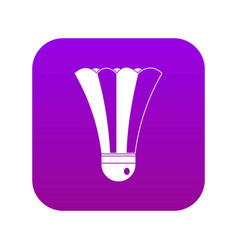 Black and white shuttlecock icon digital purple vector
